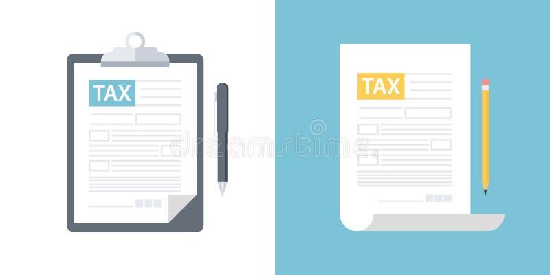 有报税表的剪贴板和笔,与铅笔的报税表 申报纳税或征收所得税平的设计 库存例证