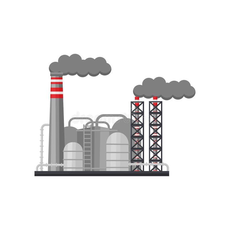有抽烟的烟囱和大钢储水池的工厂 冶金生产设备 平的传染媒介设计 皇族释放例证