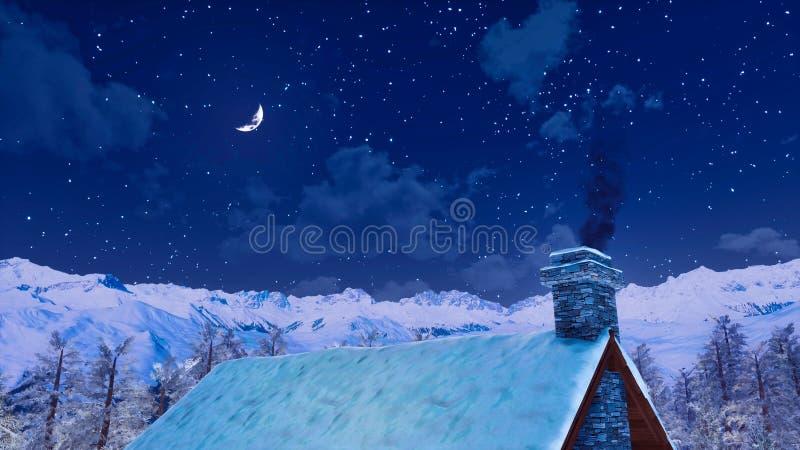 有抽烟的烟囱的议院屋顶在冬天晚上 皇族释放例证