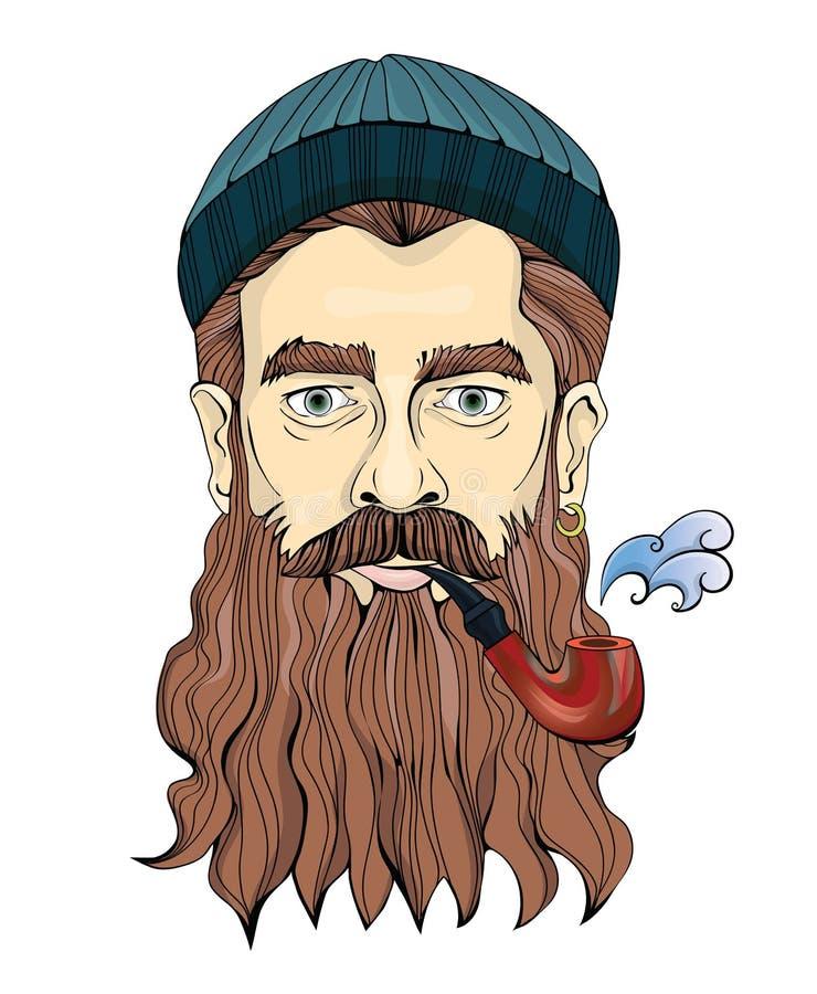 有抽管子的胡子的一个中年人 水手或渔夫一个被编织的帽子的 传染媒介画象例证 向量例证