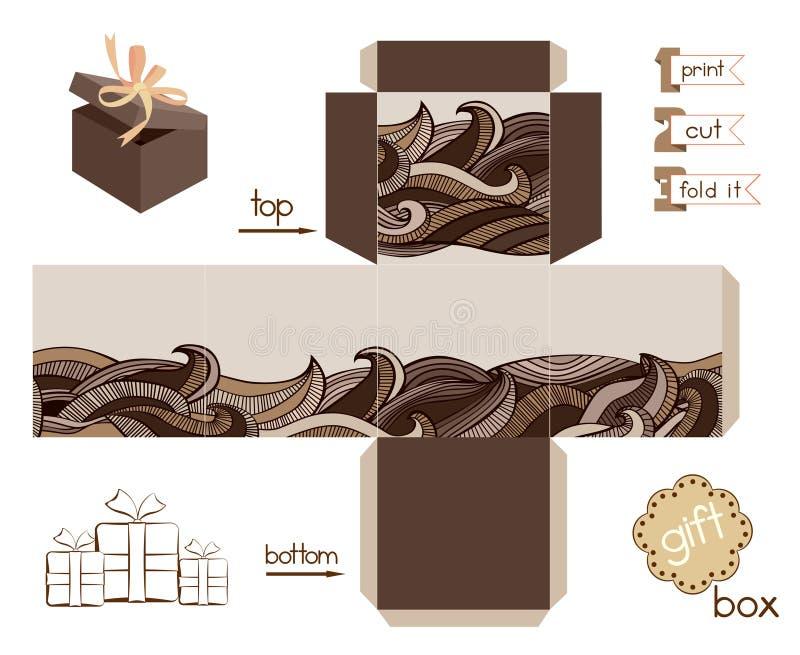 有抽象波浪样式的可印的礼物盒 皇族释放例证