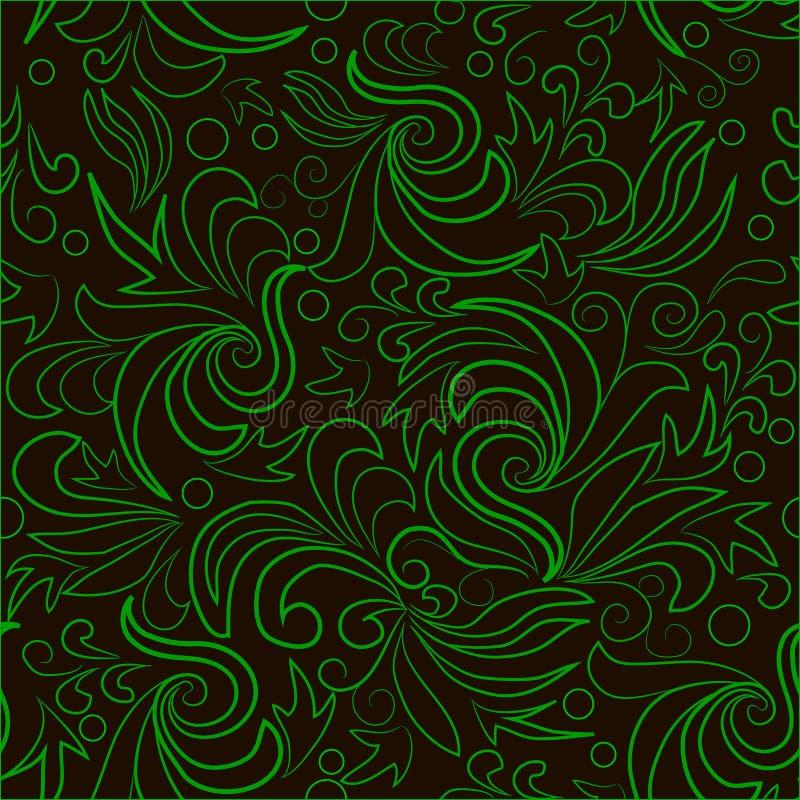 有抽象漩涡的绿色叶子 皇族释放例证