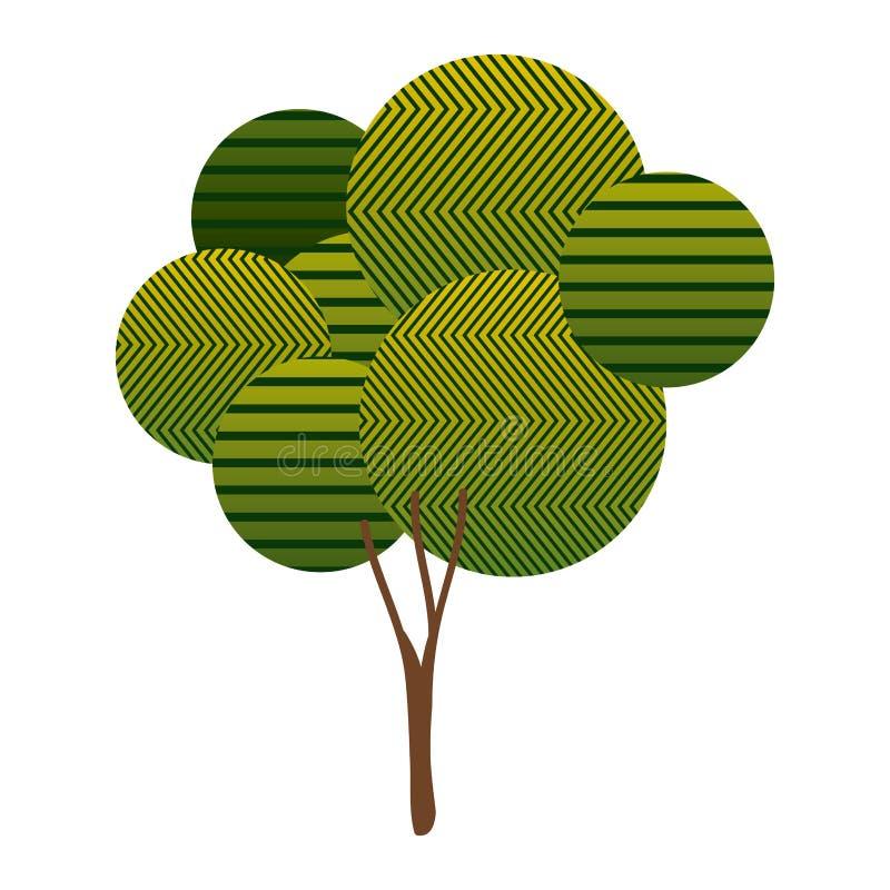有抽象线和分枝的五颜六色的高叶茂盛树植物 向量例证
