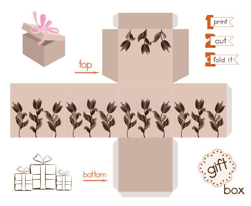 有抽象郁金香的可印的礼物盒 库存例证