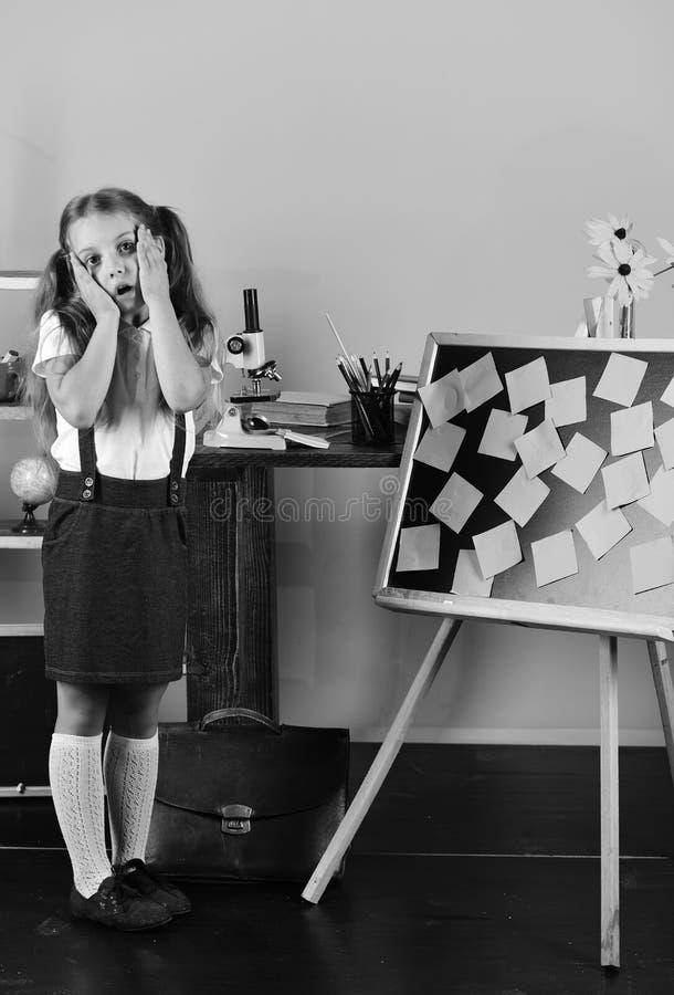 有担心的面孔的女小学生在她的教室 免版税库存照片