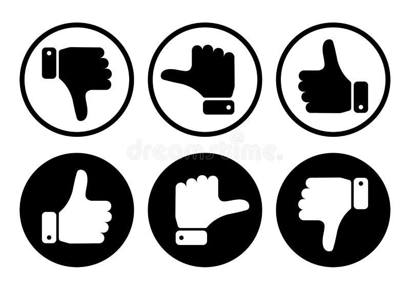有拇指的手在黑白按钮 ?? 皇族释放例证