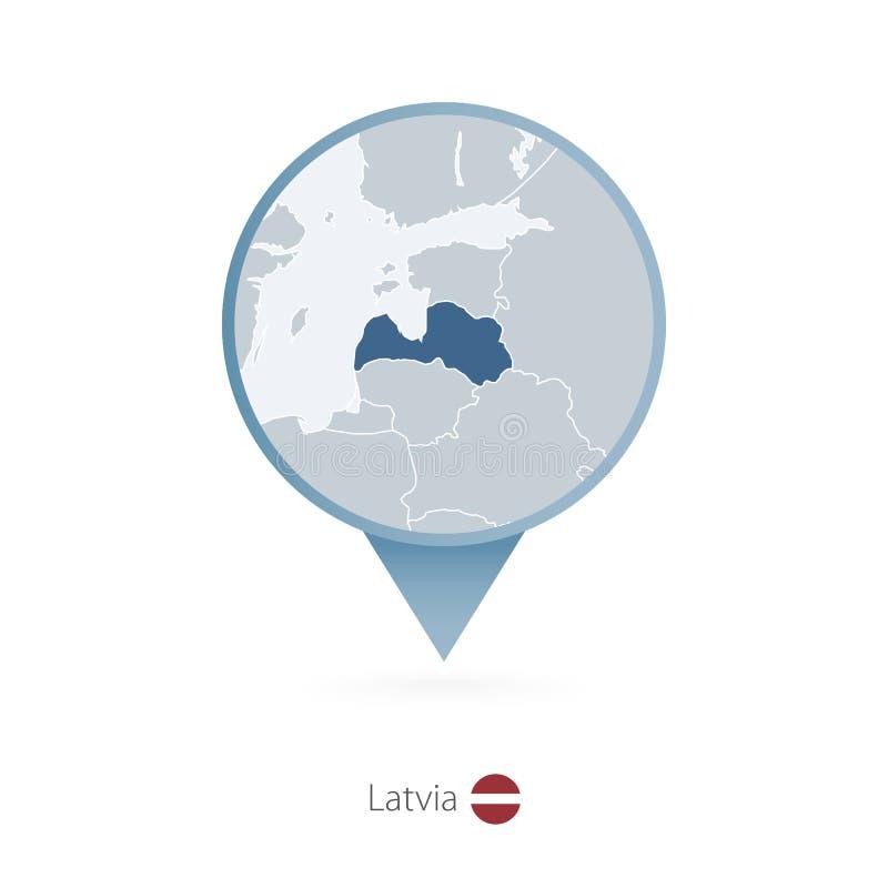 有拉脱维亚和邻国详细的地图的地图别针  皇族释放例证