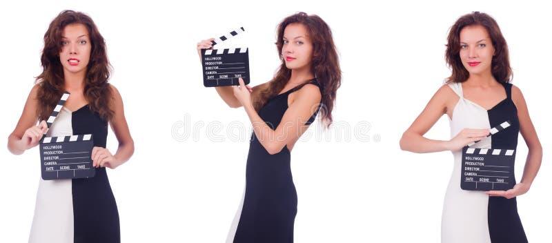 有拍板在白色隔绝的电影委员会的妇女 图库摄影