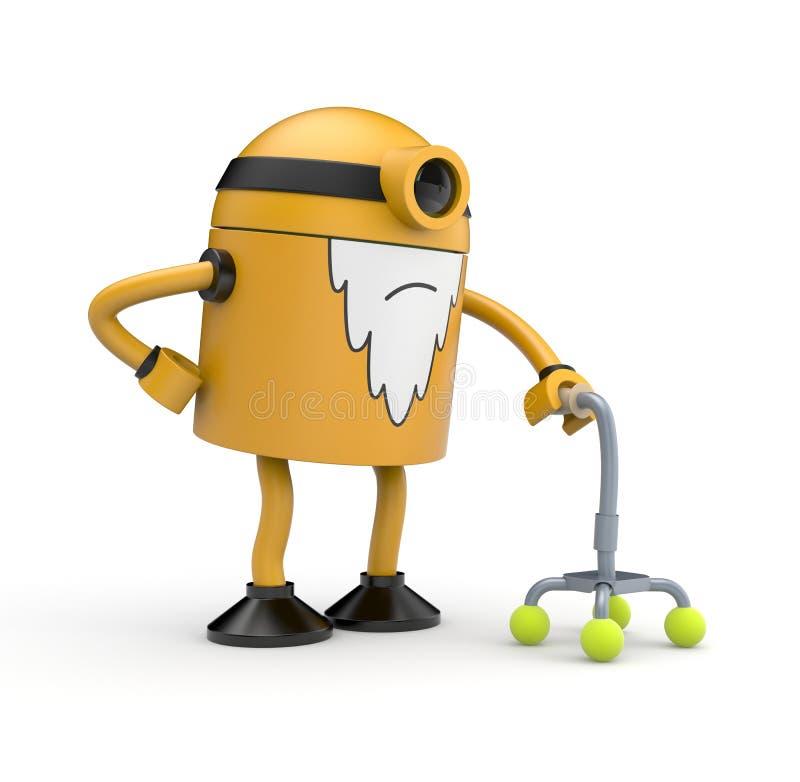 有拐杖的老机器人 皇族释放例证