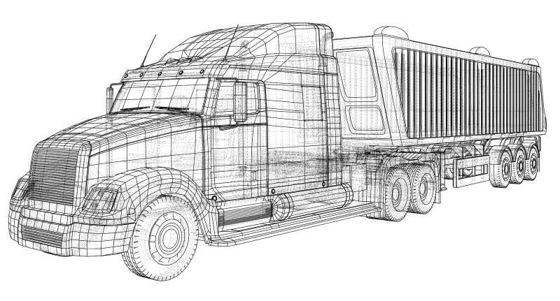 有拖车传染媒介的卡车 查出在白色 车大模型 3d的被创造的例证 导线框架 向量例证