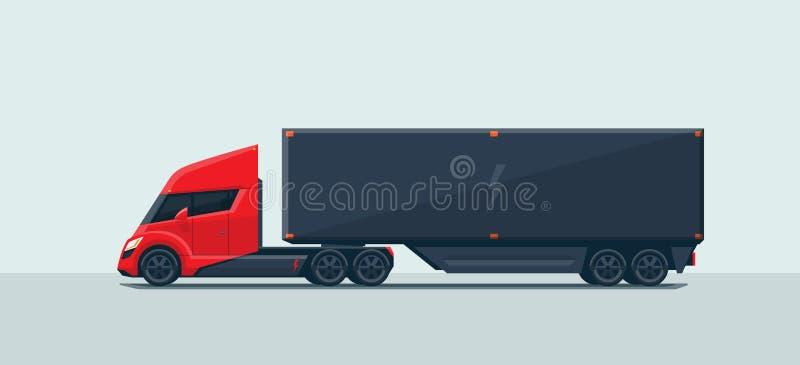 有拖车的现代未来派电半卡车 皇族释放例证