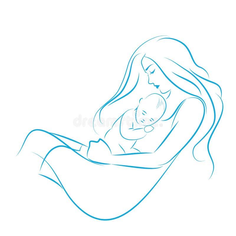 有拥抱她的她的胸口剪影的长发的母亲儿子排行拉长的海湾手 皇族释放例证