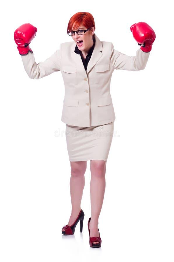 有拳击手套的妇女女实业家 免版税库存图片