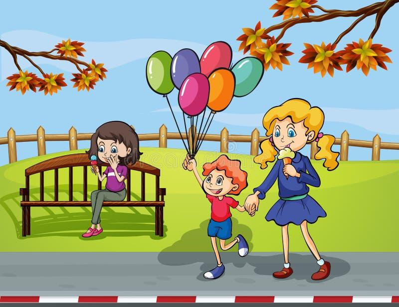 有拿着一个气球的孩子的两个女孩在公园 皇族释放例证