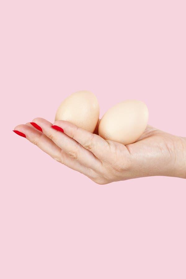 有拿着两个鸡蛋的红色指甲盖的女性手 免版税库存照片