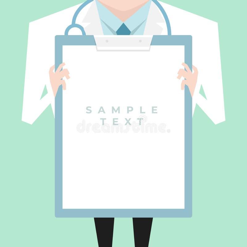 有拿着剪贴板的实验室外套的医生显示一个空白文件 皇族释放例证