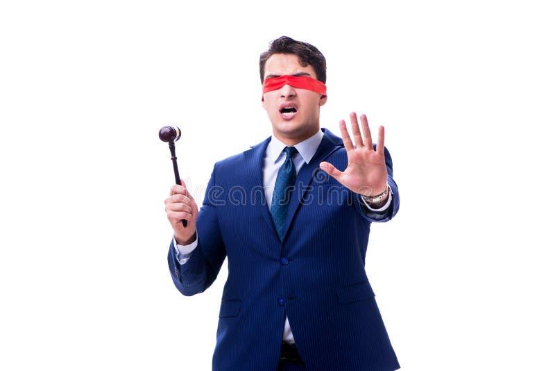 有拿着惊堂木的眼罩的律师被隔绝在白色 图库摄影