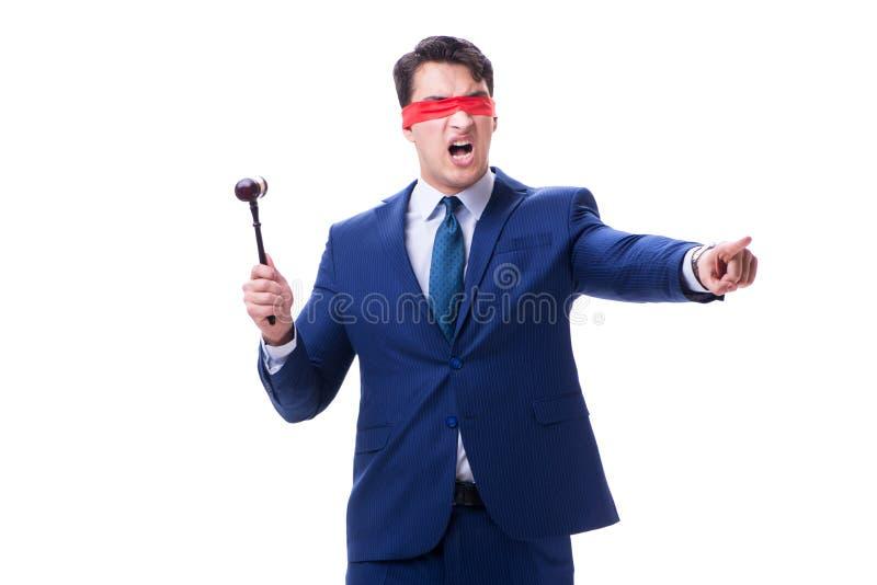 有拿着惊堂木的眼罩的律师被隔绝在白色 库存图片