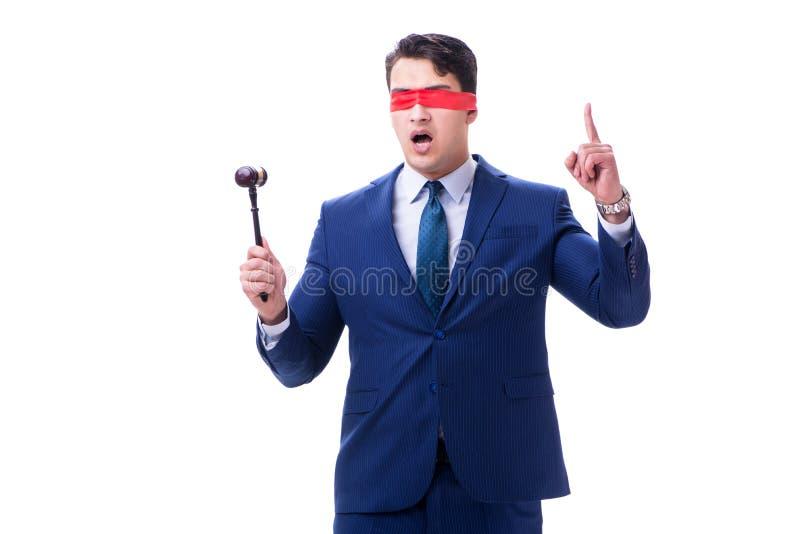 有拿着惊堂木的眼罩的律师被隔绝在白色 免版税库存照片