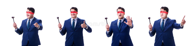 有拿着惊堂木的眼罩的律师被隔绝在白色 库存照片