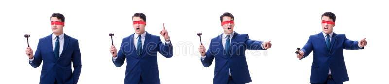 有拿着惊堂木的眼罩的律师被隔绝在白色 免版税图库摄影