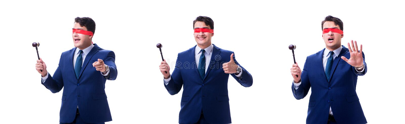 有拿着惊堂木的眼罩的律师被隔绝在白色 免版税库存图片