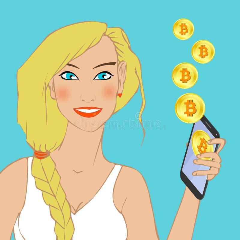 有拿着有bitcoin标志的蓝眼睛的美丽的愉快的微笑的白肤金发的女孩智能手机在显示和在天空中 向量例证