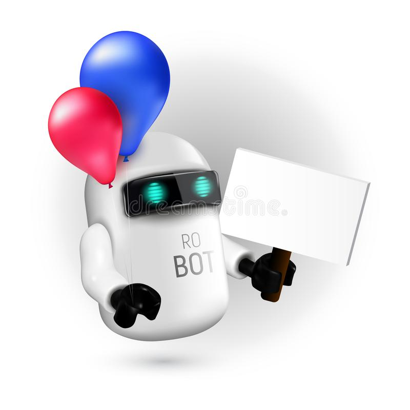 有拿着标志的红色和蓝色气球的逗人喜爱的飞行机器人,不用文本在他的手上 库存例证