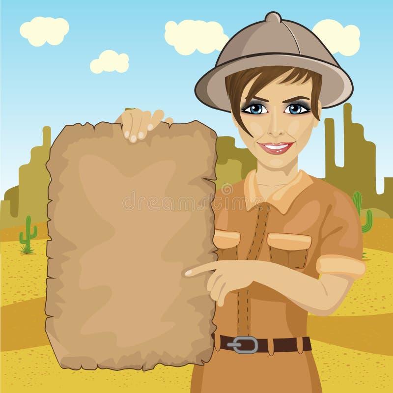 有拿着珍宝地图的徒步旅行队帽子的探险家妇女在沙漠 向量例证