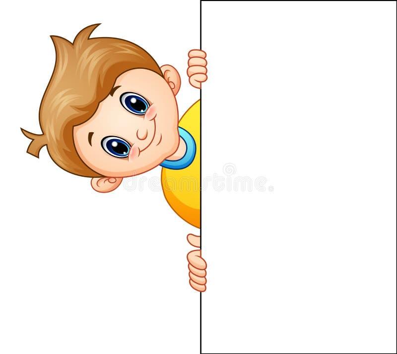 有拿着的空白的标志动画片男孩 向量例证