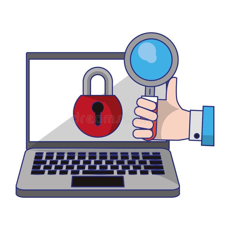 有挂锁和放大镜的计算机 皇族释放例证