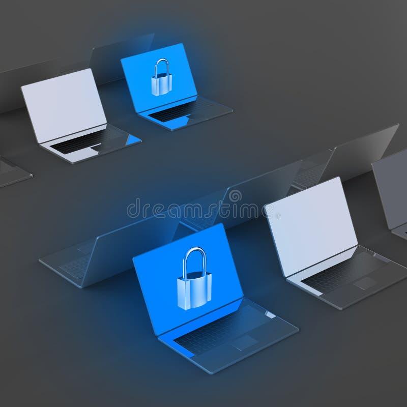 有挂锁的便携式计算机当互联网安全 向量例证