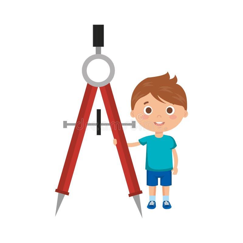 有指南针字符的小男孩学生 皇族释放例证