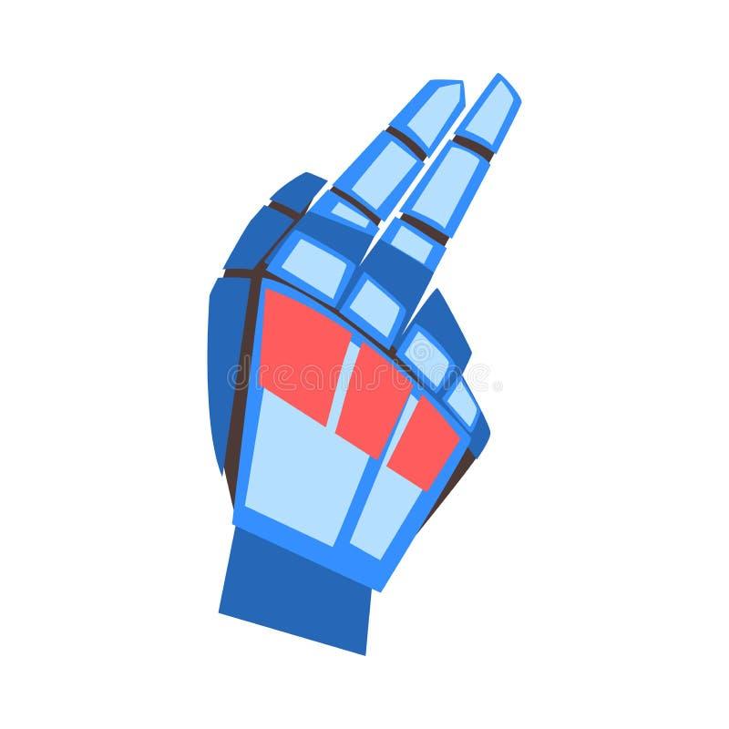 有指向的手指姿态,显示两个手指,人工智能传染媒介的机械棕榈机器人手 库存例证
