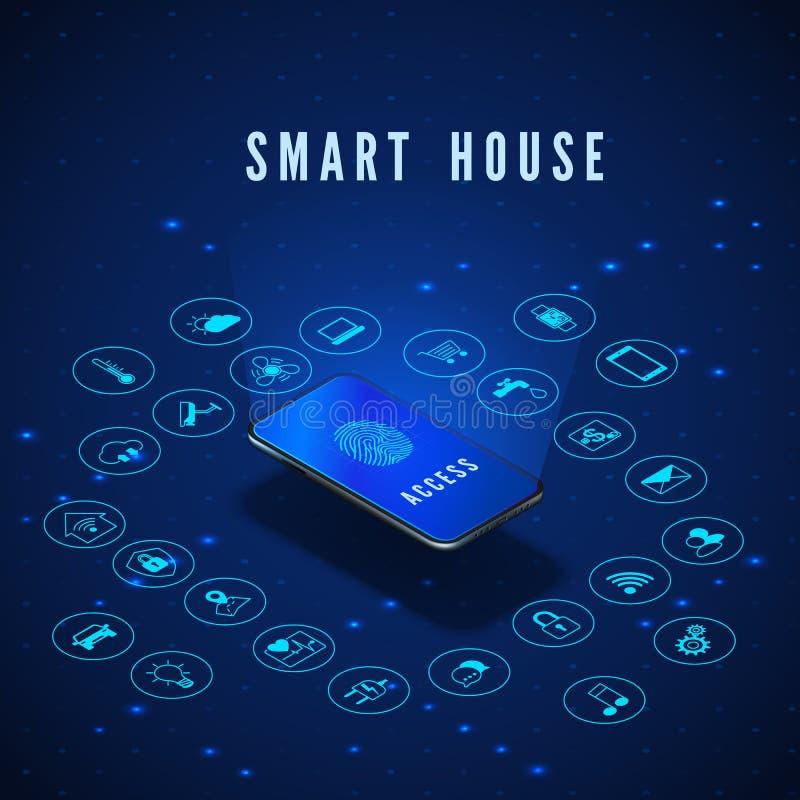 聪明的议院横幅 有指纹的智能手机在屏幕和象集合 聪明的家庭监控系统 ?? 皇族释放例证