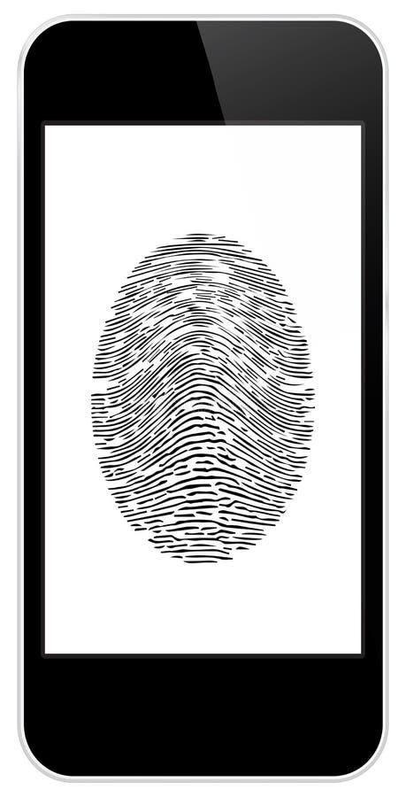 有指纹通入的企业黑巧妙的电话 库存例证