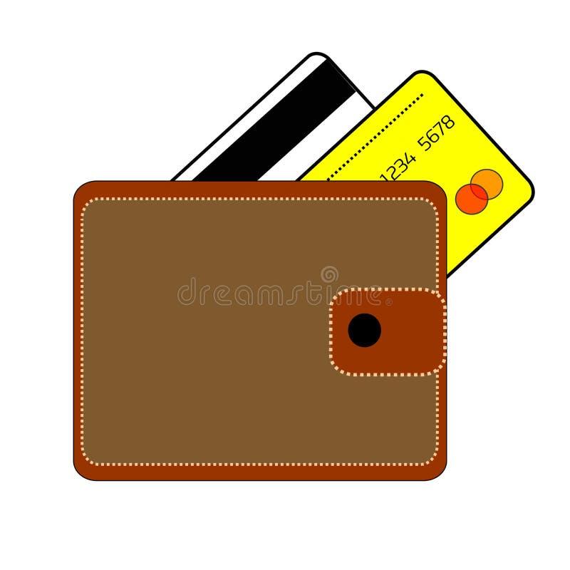 有按钮的布朗钱包和两张信用卡是银行白色和黄色在白色背景 免版税库存照片