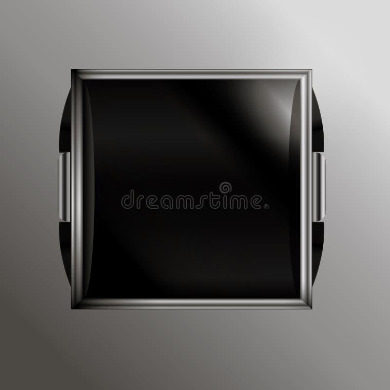 有按钮的被镀铬的,玻璃时钟和金属基,  向量例证