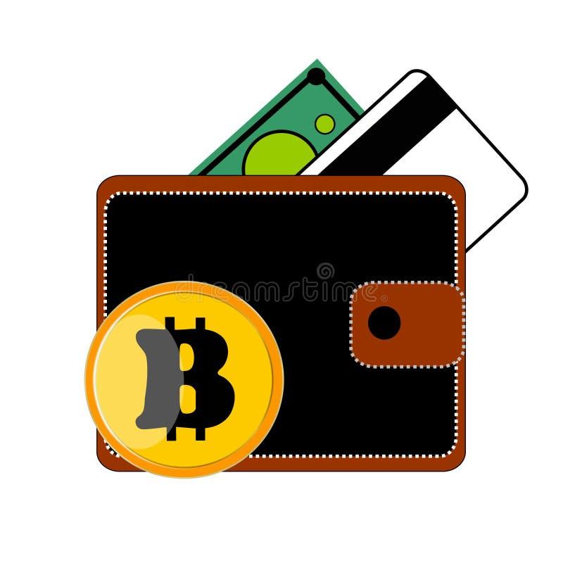 有按钮的黑钱包钱包,兑现绿色,一张票据,一张信用卡,一枚硬币Bitcoin,信用银行卡片,白色背景 免版税库存照片