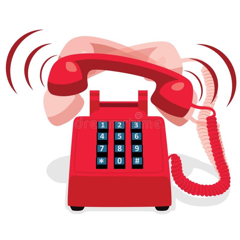 有按钮键盘的敲响的红色固定式电话 皇族释放例证