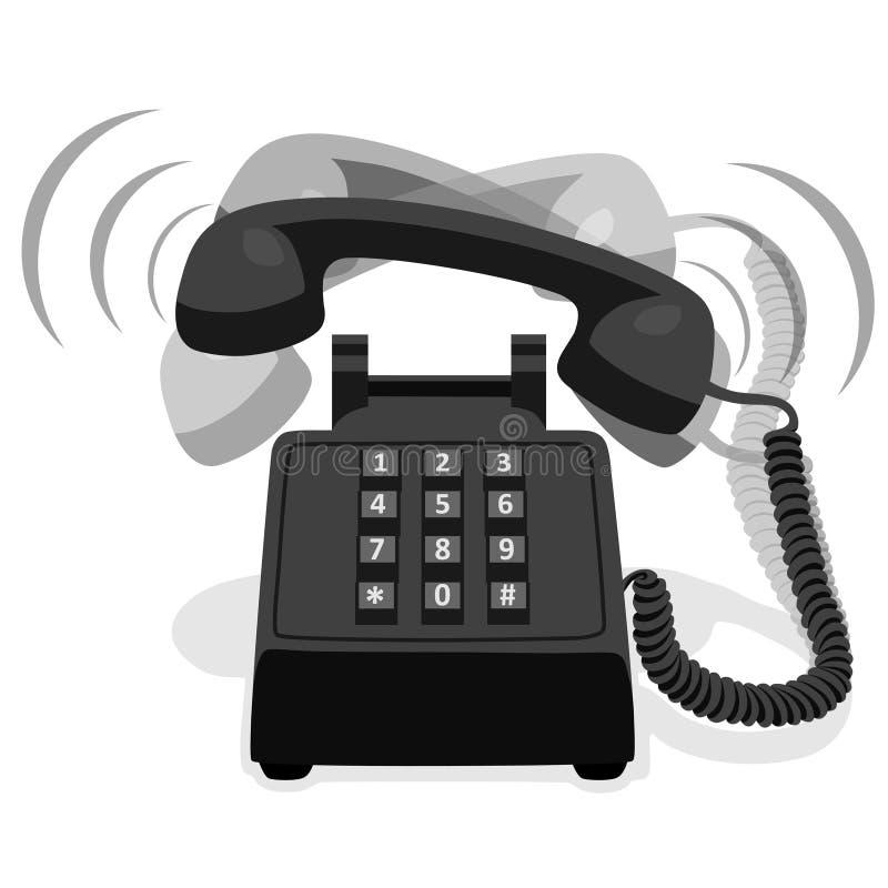 有按钮键盘的敲响的黑固定式电话 库存例证