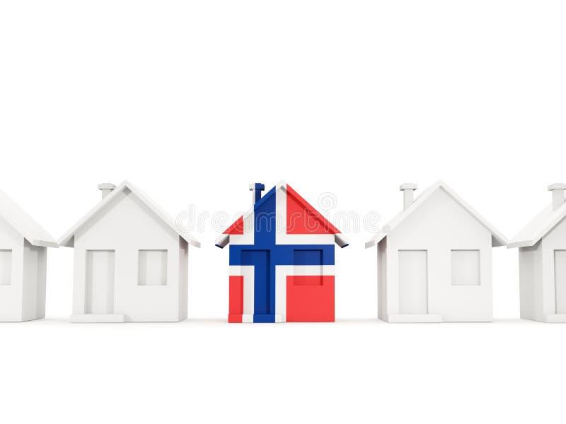 有挪威的旗子的议院 皇族释放例证