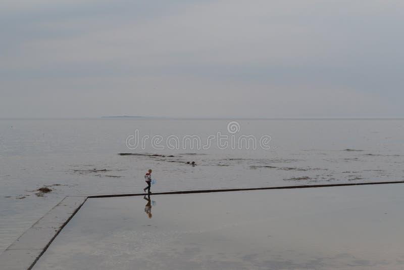 有捕鱼网的小男孩在海边 免版税库存照片