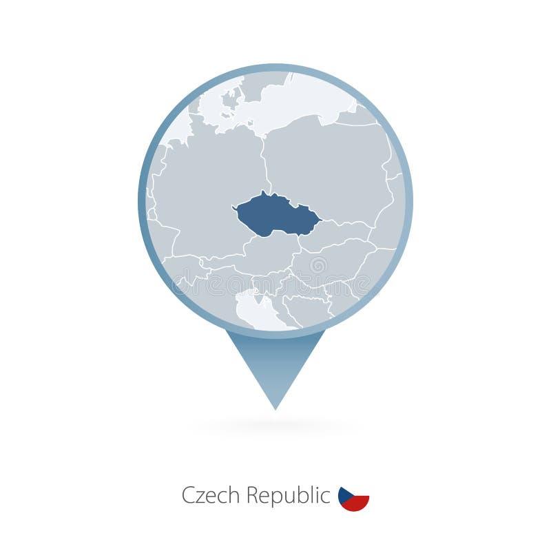 有捷克和邻国详细的地图的地图别针  皇族释放例证