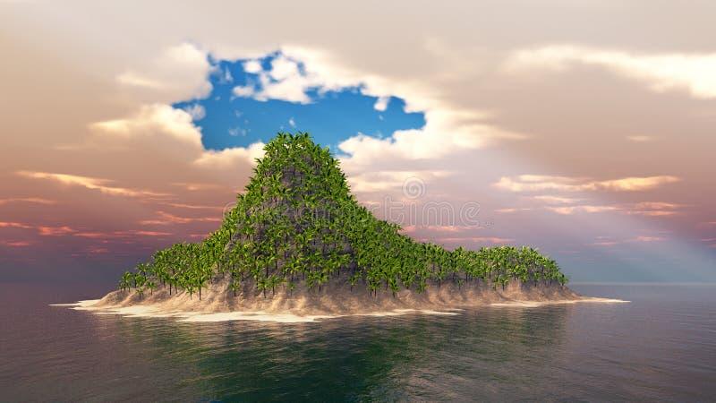 有掌上型计算机的热带海岛 向量例证