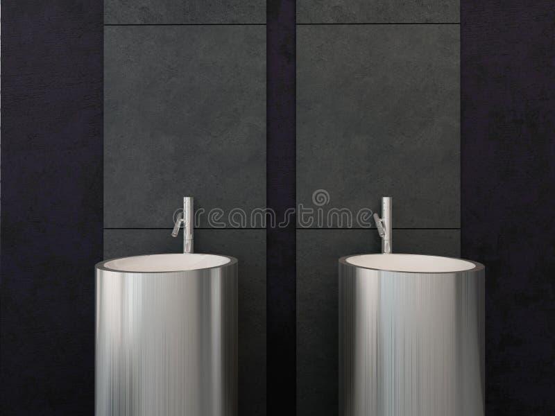 有掠过的金属样式的两个洗碗器 皇族释放例证