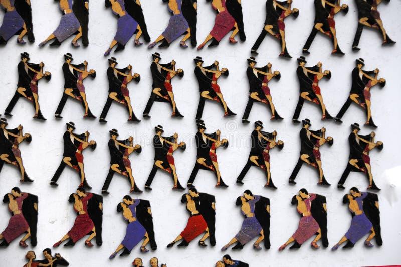 有探戈舞蹈家的图象的冰箱磁铁 库存图片