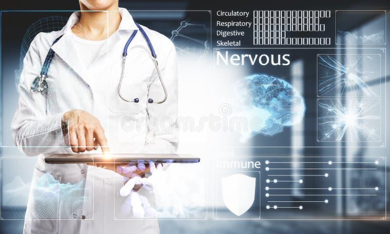 有接口的女性医生 向量例证