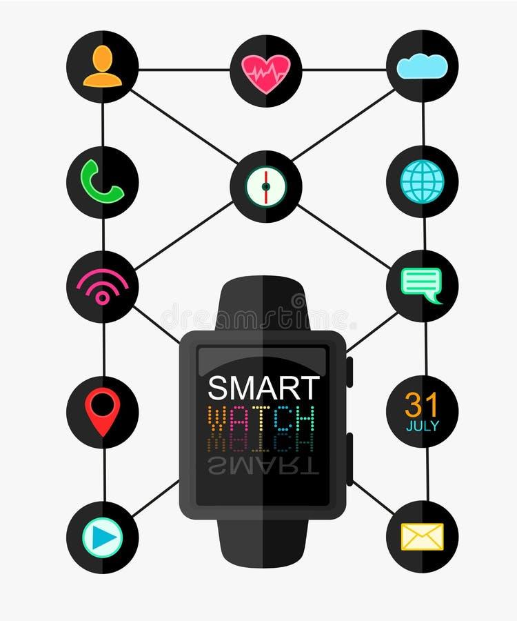 有接口的巧妙的手表和被设置的App象 有lcd屏幕的概念design.futuristic注射器 也corel凹道例证向量 平的样式 库存例证