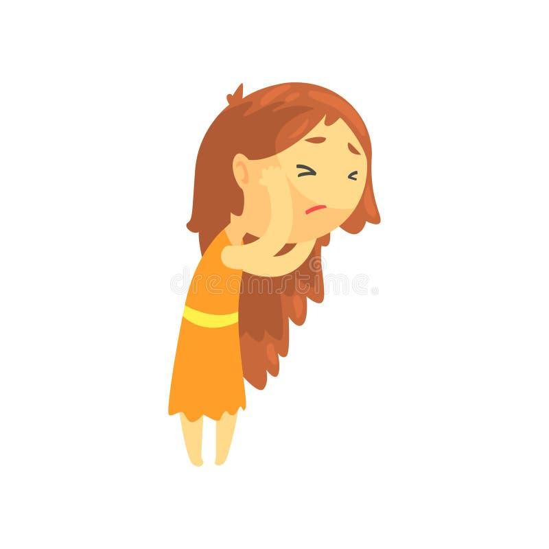有接触她的头的长的头发的病的女孩遭受头疼,不适的青少年的需要的医疗帮助漫画人物 库存例证